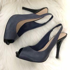 Slate blue & black sling back peep toe pumps